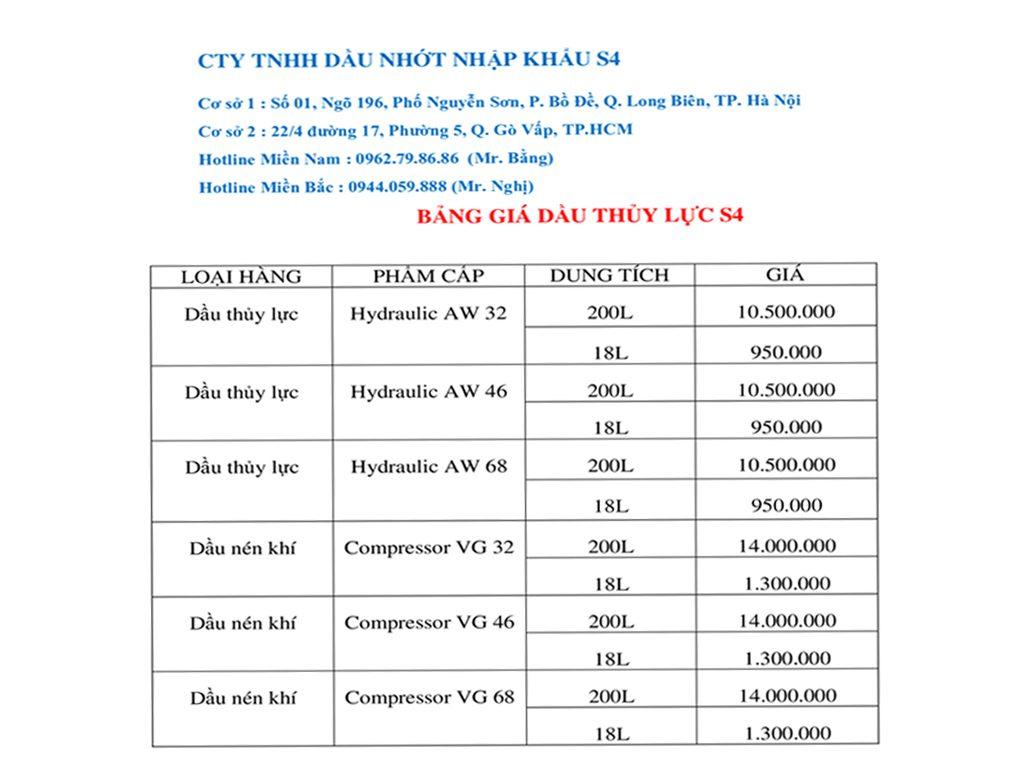 Bảng báo giá dầu thủy lực S4 hàng chính hãng nhập khẩu 100%